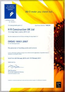 Certificate OHSAS 18001 Health & Safety